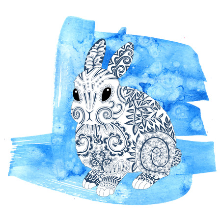 High detail patterned rabbit in style. Adult coloring page for antistress art therapy. Template for t-shirt, tattoo, poster. Vector illustration. Illustration