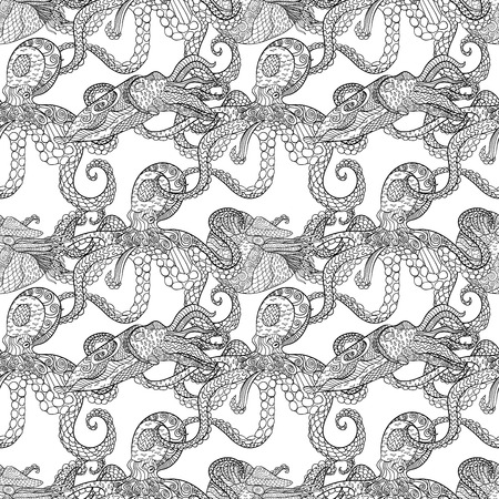 oceanic: Detailed seamless pattern with mollusks. Anti stress coloring page. Black white hand drawn zen doodle oceanic animal. Endless texture can be used for wallpaper, pattern fills, wrapping paper. Vector. Illustration