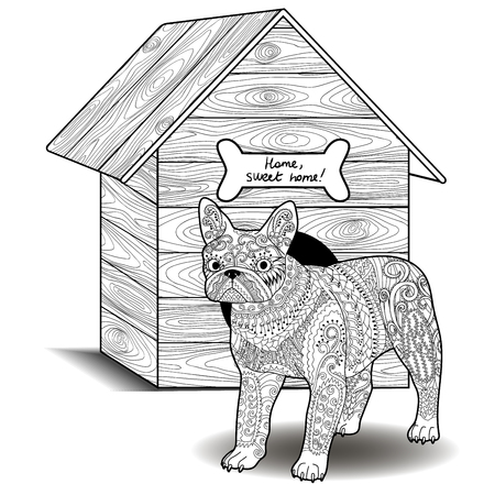 doghouse: Dog standing in front of the doghouse. Adult antistress coloring page with french bulldog. Black and white animal zendoodle. Sketch for tattoo, poster, print, t-shirt in  style.