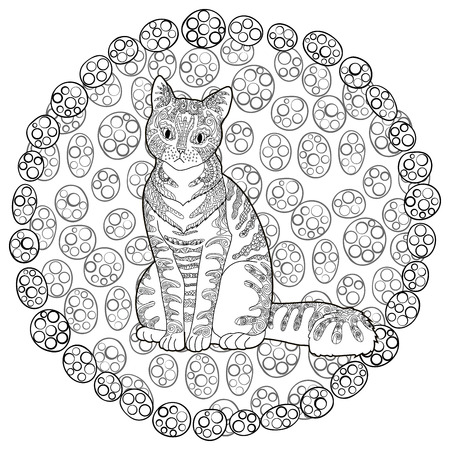 high detail patterned cat in style. adult coloring page for anti ... - Art Therapy Coloring Pages Animals