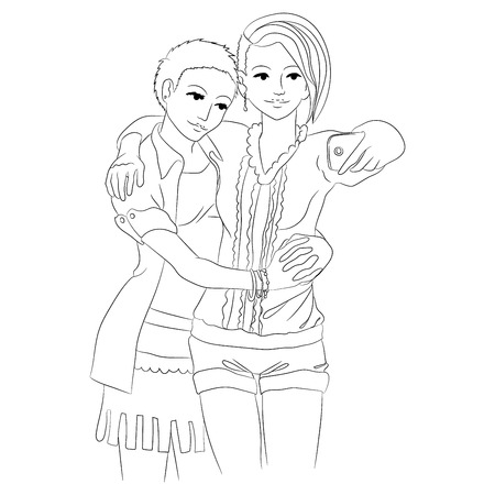 grown with love: Two cute girls in love embracing and taking selfie. Women hug and take photos. Template for coloring page for grown ups.  illustration. Illustration
