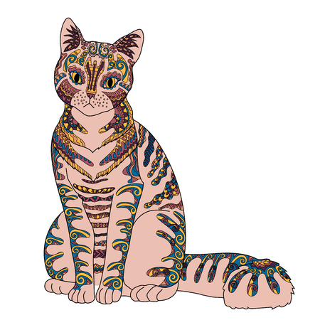 tangle: High detail patterned cat in zen tangle style. Template with cute pet for t-shirt, tattoo, poster Illustration