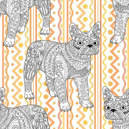 Haut pattern détaillée avec des animaux dans le style. Adulte coloriage avec un chat pour anti-stress thérapie par l'art. modèle de doodle Zen pour l'emballage ou de papier de scrapbooking.
