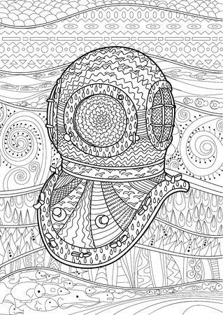 Antiguos De La Mano Buzos Casco Dibujar Con Detalles Altos. Colorear ...