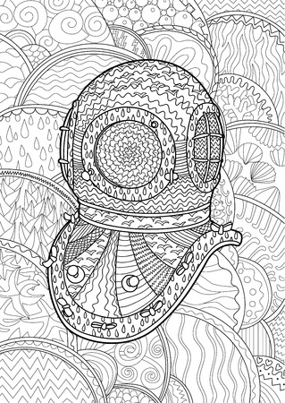 Antique divers helmet  with high details. Coloring pages for adult. Abstract pattern with oceanic elements for relax coloring for grown ups in  style. Ilustração