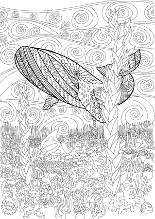 humpback: Underwater humpback whale in the waves for anti stress Coloring Page with high details, isolated on pattern background, illustration in zendoodle style. monochrome drawing. Marine collection.