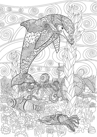 high sea: Sea animals with high details. Adult antistress coloring page. Black white doodle with underwater oceanic animals for art therapy. Underwater seascape for relax coloring. illustration Illustration