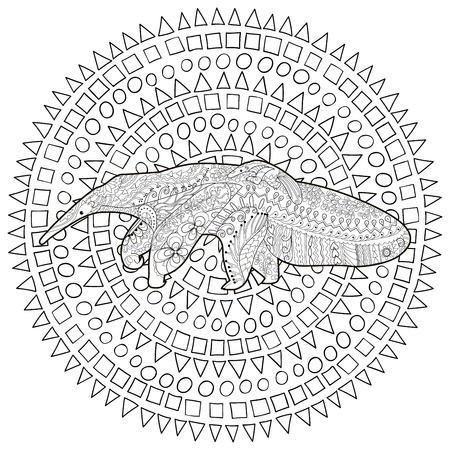 High detail patterned illustration in zen tangle style. Adult coloring page for antistress art therapy. Anteater with baby. Template for t-shirt, tattoo, poster