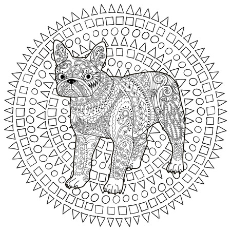 High Detail Patterned French Bulldog In Style Adult Coloring Page With A Dog For Antistress