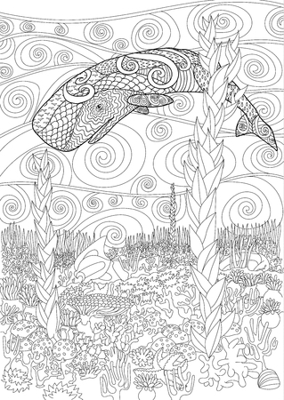 cachalot: Swimming whale for anti stress Coloring Page with high details, isolated on the underwater marine background, illustration in style. monochrome drawing with cachalot.