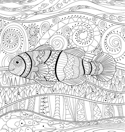 high sea: Clownfish with high details. Adult antistress coloring page. Black white sea animal for art therapy. Abstract pattern with oceanic elements for relax coloring for grown ups in style. Illustration