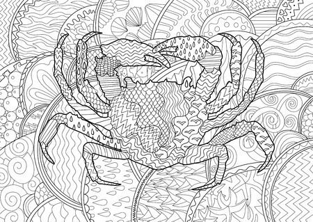 high sea: Sea crab with high details. Adult antistress coloring page. Black white sea animal for art therapy. Abstract pattern with oceanic elements for relax coloring for grown ups Illustration