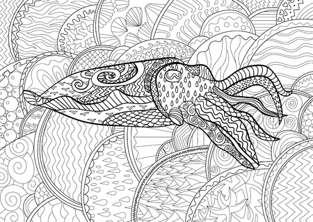 mollusk: Cuttlefish with high details. Adult antistress coloring page. Black white mollusk for art therapy. Abstract pattern with oceanic elements for relax coloring for grown ups