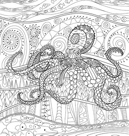 high sea: Octopus with high details. Adult antistress coloring page. Black white sea animal for art therapy. Abstract pattern with oceanic elements for relax coloring for grown ups Illustration