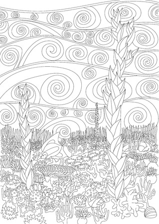 high sea: Sea background with high details. Adult antistress coloring page. Black white doodle marine backdrop for art therapy. Underwater seascape with oceanic elements for relax coloring for grown ups.