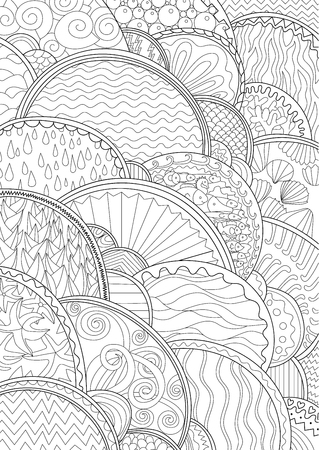 high sea: Sea background with high details. Adult antistress coloring page. Black white marine backdrop for art therapy. Abstract pattern with oceanic elements for relax coloring for grown ups.