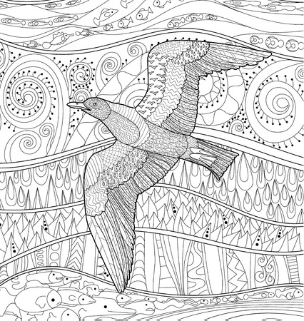 Adult Antistress Coloring Page Black White Sea Bird
