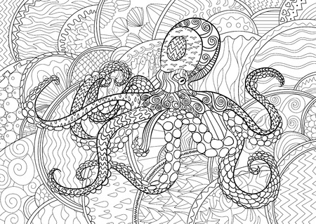 adult antistress coloring page black white sea animal for art - Art Therapy Coloring Pages Animals