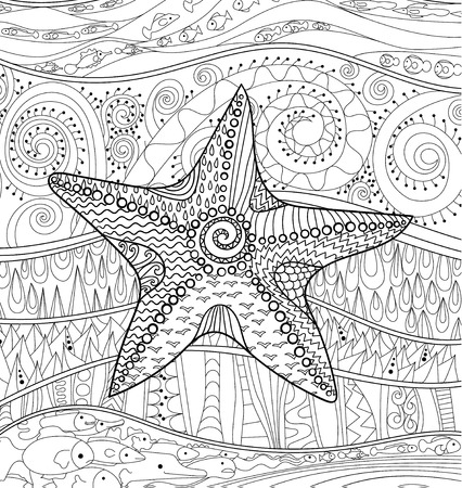 high sea: Starfish with high details. Adult antistress coloring page. Black white sea animal. Abstract pattern with oceanic elements for relax coloring for grown ups in zentangle style. Vector illustration. Illustration