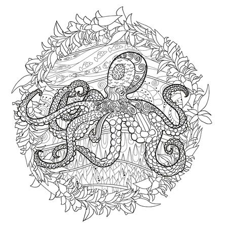 Octopus Mit Hohen Details. Erwachsene Anti-Stress-Färbung Seite ...