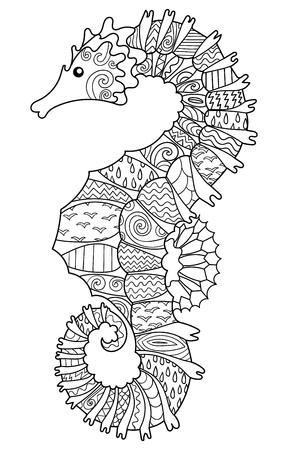 high sea: Hand drawn swimming sea horse with high details for anti stress coloring page, illustration in tracery style. Sketch for tattoo, poster, print, t-shirt in zendoodle style. Vector.