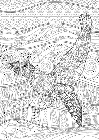 high sea: Swimming seal with high details for anti stress coloring page. Black white oceanic animal for art therapy. Abstract pattern with sea elements for relax coloring for adults in zentangle style. Vector