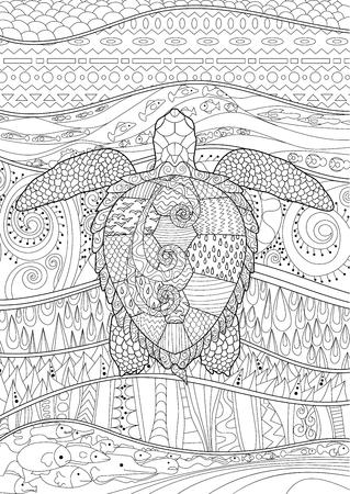 Schwimmen Meeresschildkröte Für Anti-Stress-Färbung Seite Mit Hohen ...