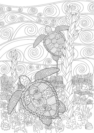 high sea: Swimming sea turtle for anti stress Coloring Page with high details, isolated on the underwater oceanic background, illustration in zentangle style. Vector monochrome drawing with caretta-caretta. Illustration