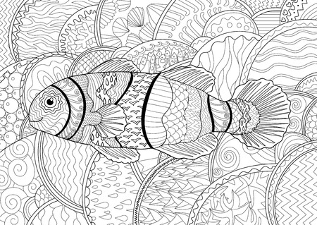 Clownfish with high details. Adult antistress coloring page. Black white sea animal for art therapy. Abstract pattern with oceanic elements for relax coloring for grown ups in zentangle style. Vector.