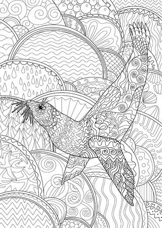Schwarz Weiß Maßwerk Doodle Der Eule Für Kunsttherapie. Skizze Für ...