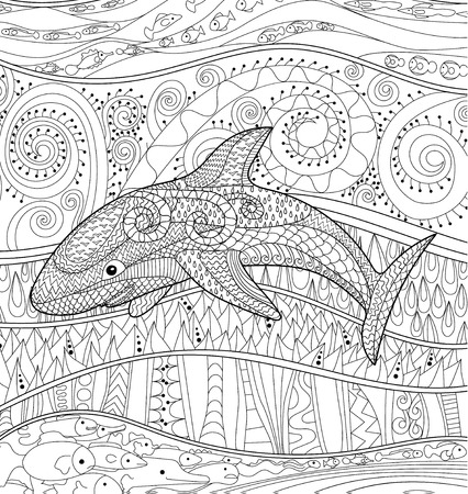 Happy shark with high details. Adult antistress coloring page. Black white oceanic animal for art therapy. Abstract pattern with oceanic elements for relax coloring for grown ups in zentangle style.