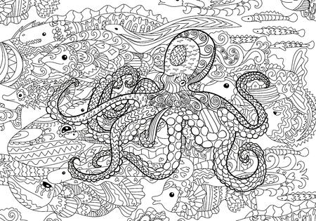 Underwater sea octopus in zentangle style. Illustration