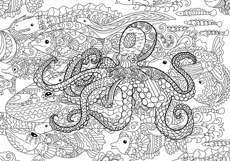 Underwater sea octopus in zentangle style. Çizim