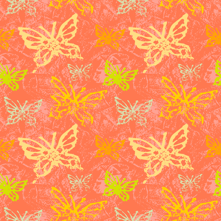 Grunge seamless pattern with butterflys.