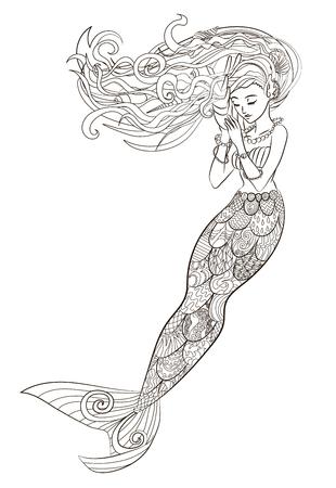 Gepatenteerde illustratie van een zeemeermin.