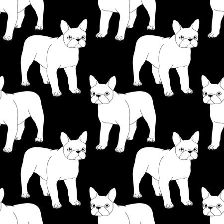 Black and white seamless pattern with bulldog. 向量圖像