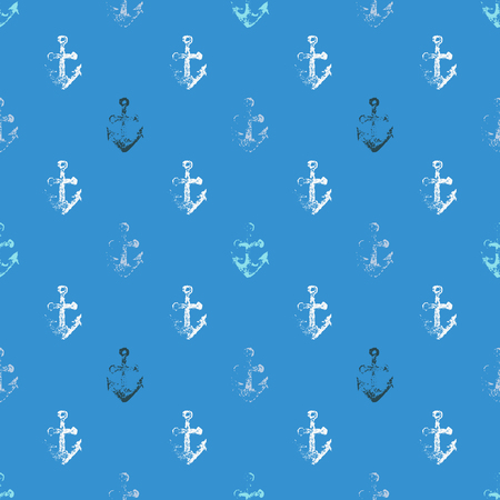 fabric textures: Grunge seamless pattern with anchor imprints. Illustration