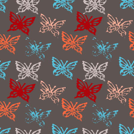 fabric textures: Grunge seamless pattern with butterflys.