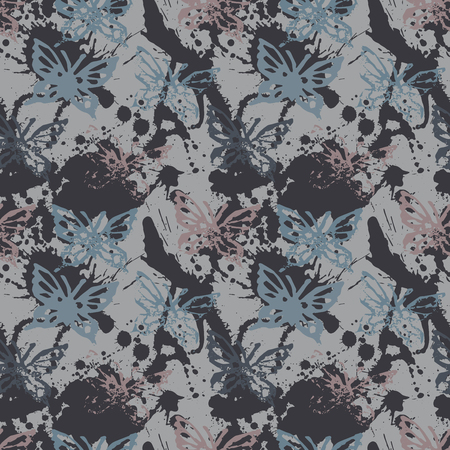 fabric textures: Grunge seamless pattern with butterflies. Illustration