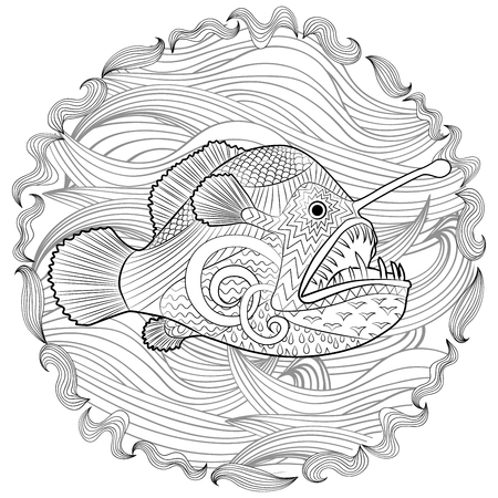 Hand drawn angel fish with high details