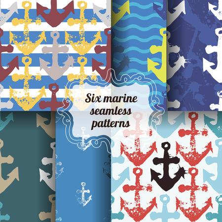 ship anchor: Set of marine seamless patterns.
