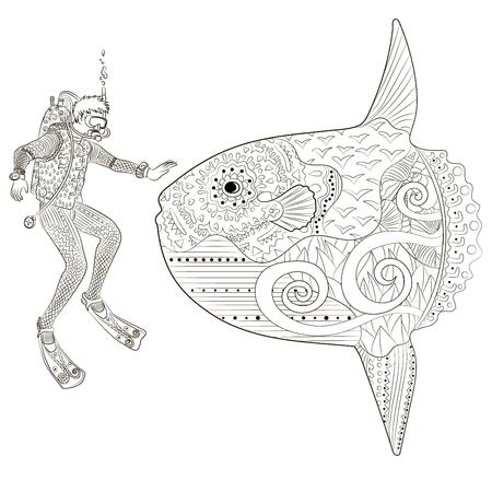 Underwater diver in zentangle style.
