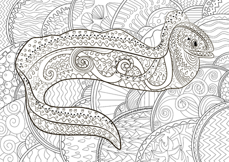Illustration of a moray in zentangle style. 免版税图像 - 84849590