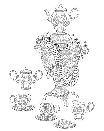 Samovar mit hohen Details. Standard-Bild - 84636670