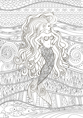 Patterned illustration of a mermaid. Çizim