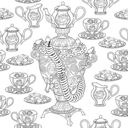 Nahtloses Muster mit Samowar Standard-Bild - 86222575