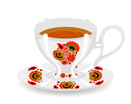Vector cup with classic Russian khokhloma ornament. White ceramic cup with saucer. Cup for tea.