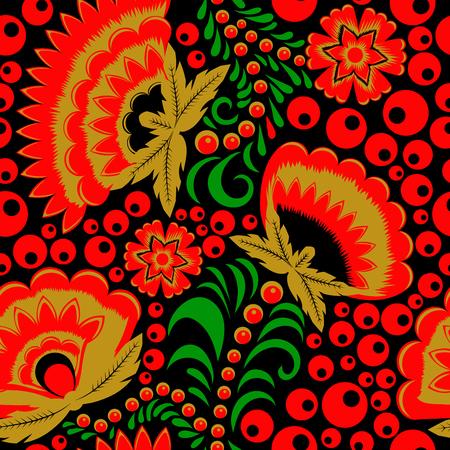 Russian ethnic khokhloma seamless pattern