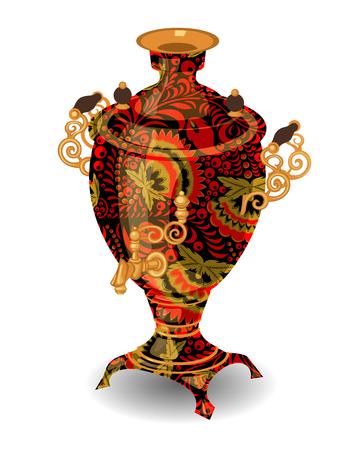 Samowar mit klassischem Khokhloma Standard-Bild - 88230866