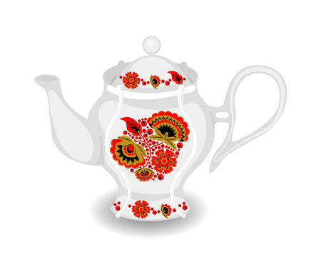 Vector teapot with classic Russian khokhloma ornament. White ceramic object with hohloma style. Teakettle from tea set.